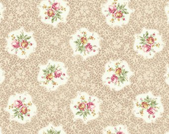 Ruru Roses cotton fabric by Quilt Gate Ru2200-15A Cameos on Tan