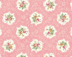 Ruru Roses cotton fabric by Quilt Gate Ru2200-15B Cameo of Roses on Pink
