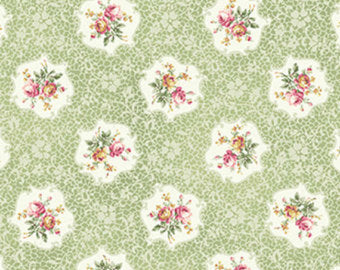 Ruru Roses cotton fabric by Quilt Gate Ru2200-15C Cameo of Roses on Green