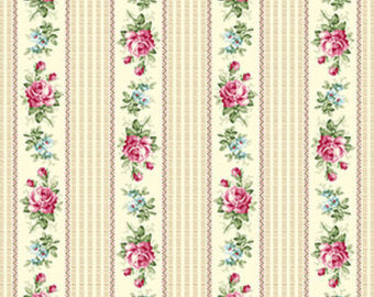 Ruru Roses cotton fabric by Quilt Gate Ru2200-16A Stripes on Cream