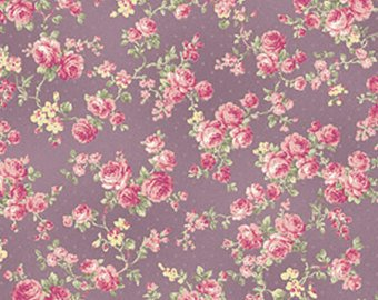 Ruru Rose Bouquet cotton fabric by Quilt Gate Ru2220-17D Roses on Purple