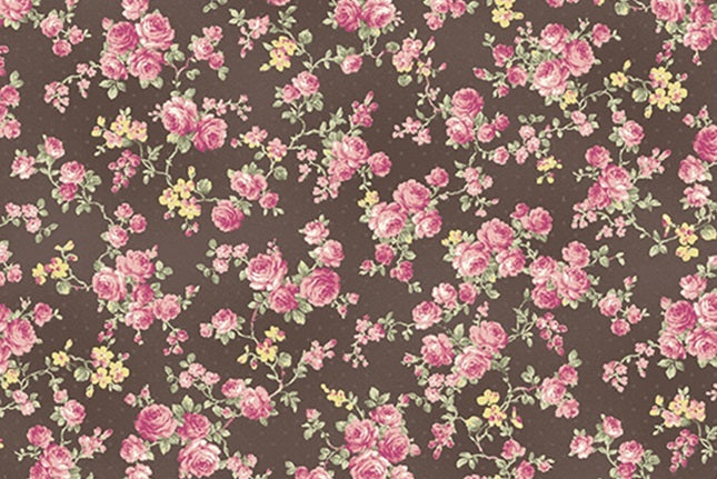Ruru Roses cotton fabric by Quilt Gate Ru2200-17F Small Roses on Black