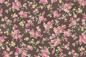 Ruru Roses cotton fabric by Quilt Gate Ru2200-17F Small Roses on Brown