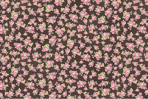 Ruru Roses cotton fabric by Quilt Gate Ru2200-18F Tiny Roses on Brown