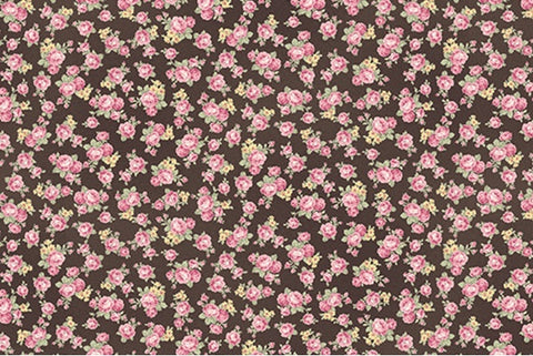 Ruru Roses cotton fabric by Quilt Gate Ru2200-18F Tiny Roses on Black