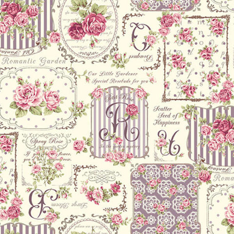 Ruru Rose Bouquet cotton fabric by Quilt Gate Ru2220-12D Collage of Roses in Purple