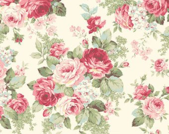 Ruru Rose Bouquet cotton fabric by Quilt Gate Ru2220-13A