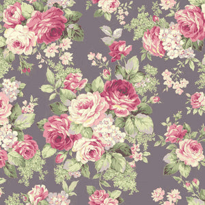 Ruru Rose Bouquet cotton fabric by Quilt Gate Ru2220-13D Large Bouquet on Purple