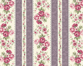 Ruru Rose Bouquet cotton fabric by Quilt Gate Ru2220-14D Stripe Purple