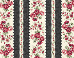 Ruru Rose Bouquet cotton fabric by Quilt Gate Ru2220-14E Stripe Black