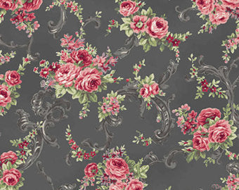 Ruru Rose Bouquet cotton fabric by Quilt Gate Ru2220-17E Roses on Black