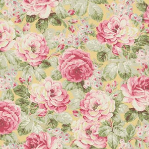 Ruru Prima Ballerina Collection cotton fabric by Quilt Gate Ru2260-11B Roses on Yellow