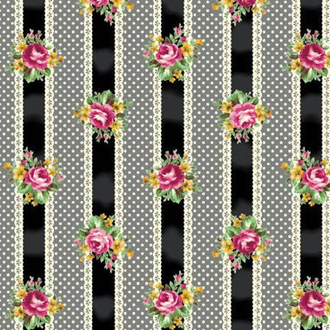 Ruru Tea Party Collection cotton fabric by Quilt Gate Ru2270-15F Black Stripe