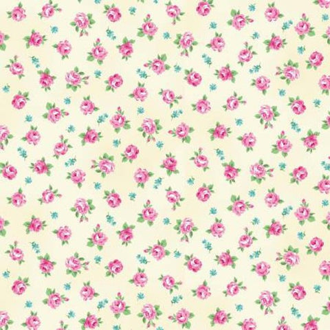 Ruru Tea Party Collection cotton fabric by Quilt Gate Ru2270-16A Roses on Cream