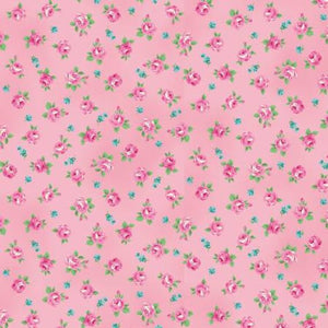 Ruru Tea Party Collection cotton fabric by Quilt Gate Ru2270-16B Roses on Pink