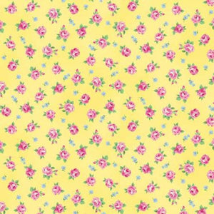 Ruru Tea Party Collection cotton fabric by Quilt Gate Ru2270-16D Roses on Yellow