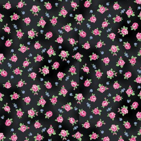 Ruru Tea Party Collection cotton fabric by Quilt Gate Ru2270-16E Roses on Black