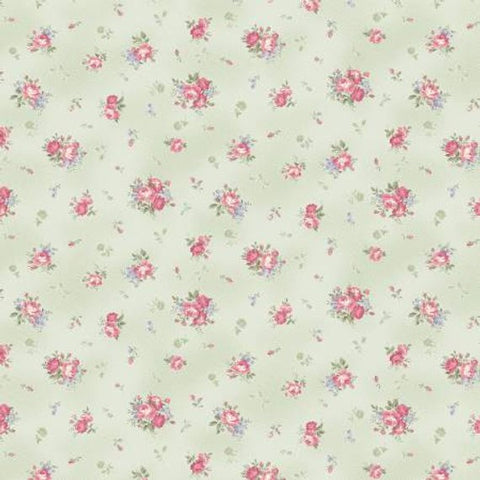 Ruru Classic Library Collection cotton fabric by Quilt Gate Ru2290-15c Roses on Pale Green