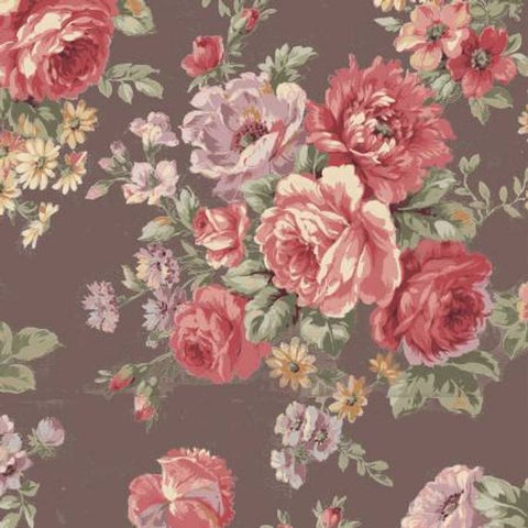 Ruru Love Rose Love cotton fabric by Quilt Gate Ru2300-11F Large Roses on Brown