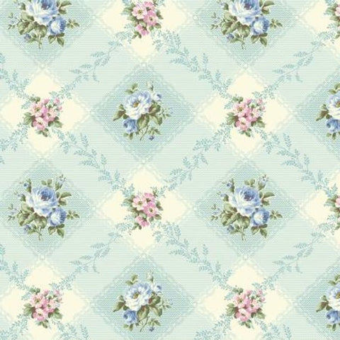 Love Rose Love cotton fabric by Quilt Gate Ru2300-12C Blue