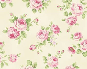 Love Rose Love cotton fabric by Quilt Gate Ru2300-13A Pink Roses on Cream
