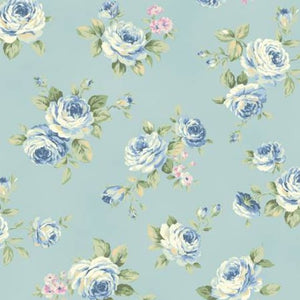 Love Rose Love cotton fabric by Quilt Gate Ru2300-13C Blue Roses