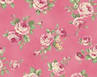 Love Rose Love cotton fabric by Quilt Gate Ru2300-13E Dark Pink Roses