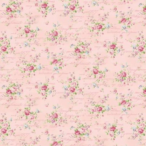 Love Rose Love cotton fabric by Quilt Gate Ru2300-15B Roses and Script on Pink