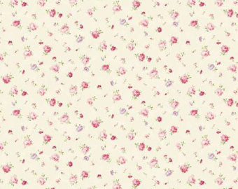 Love Rose Love cotton fabric by Quilt Gate Ru2300-16A Small roses on Cream