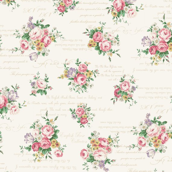 English Rose Garden cotton fabric by Quilt Gate RU2310-13A