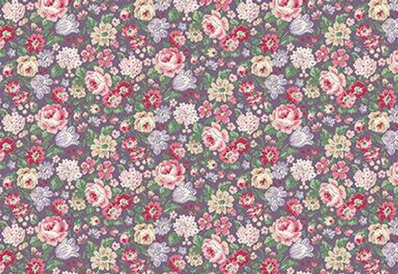 English Rose Garden cotton fabric by Quilt Gate RU2310-14E Small Flowers on Purple
