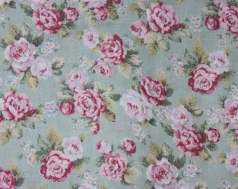 Yuwa cotton fabric  Scattered Roses on Seafoam YWP816844D