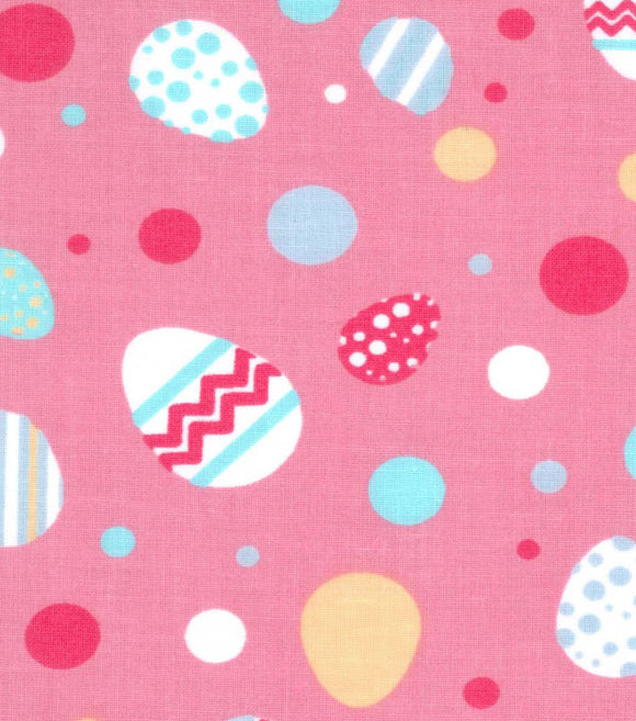Easter Fabric by the Yard or Half Yard, Bright Dots and Easter Eggs