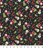 Santa and Friends on Black, Fabric by the Yard, Fabric by the Half Yard, Hi Fashion Prints