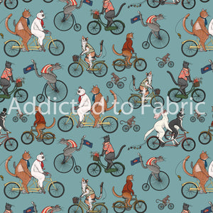 Bicycle Race Cat Fabric, Fabric by the Yard, Freespirit Cat Tales Collection