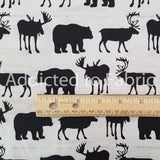 Send Me to the Woods Fabric by the Yard, Half Yard, Moose, Deer, Bears