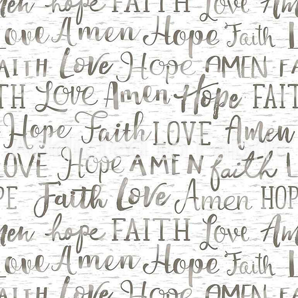 Hope, Faith, Love, Amen, Words, Fabric by the Yard or Half Yard, Timeless Treasures