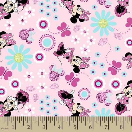 Minnie Mouse Fabric by the Yard or Half Yard, Cotton, Pink
