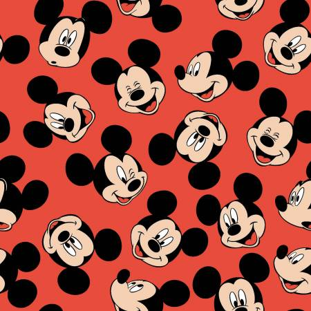 Mickey Mouse Face Toss, Fabric by the Yard, Fabric by the Half Yard, Disney, Red