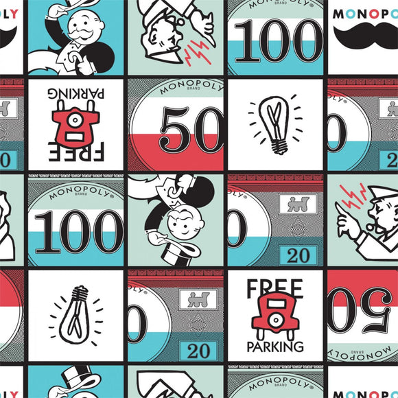 Monopoly Squares Fabric by the Yard or Half Yard