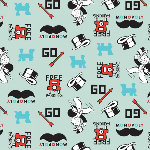Monopoly Icons Fabric by the Yard or Half Yard, Hasbro Gaming, Cotton