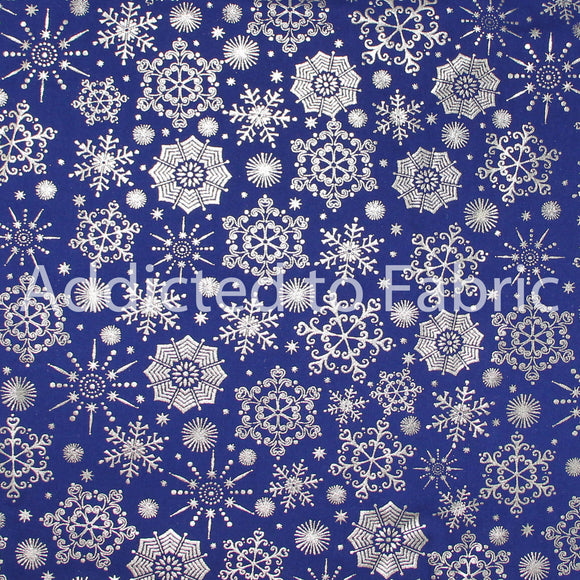 Christmas Fabric by the Yard or Half Yard, Cotton, Silver Snowflakes on Royal Blue
