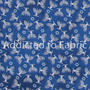 Hanukkah Fabric by the Yard or Half Yard, Menorahs on Blue Cotton