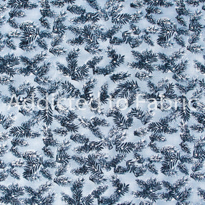 Blue Christmas Branches, Quilting Fabric by the Yard, by the Half Yard