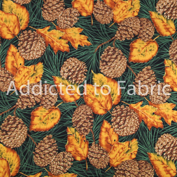 Beautiful Autumn/Fall Fabric by the Yard, by the Half Yard, Pinecones, Pine Cones and Leaves