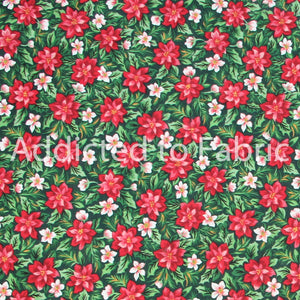 Floral Fabric by the Yard, by the Half Yard, Poinsettias Season's Greeting from Fabri-Quilt