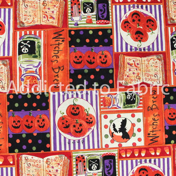 Witches Brew Halloween Fabric by the Yard, by the Half Yard