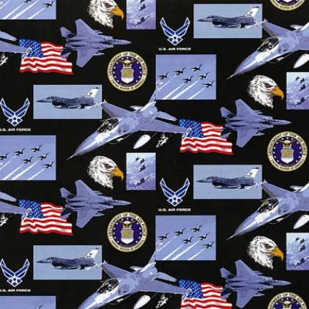 U.S. Air Force Allover Fabric by the Yard and Half Yard, Military Fabric