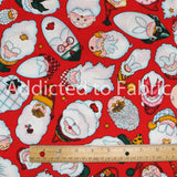 All Over Santa Faces by Daisy Kingdom, Christmas Fabric by the Yard, by the Half Yard
