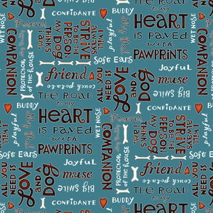 All You Need is Love and a Dog, Quilt Fabric by the Yard and Half Yard, Henry Glass, Words on Blue